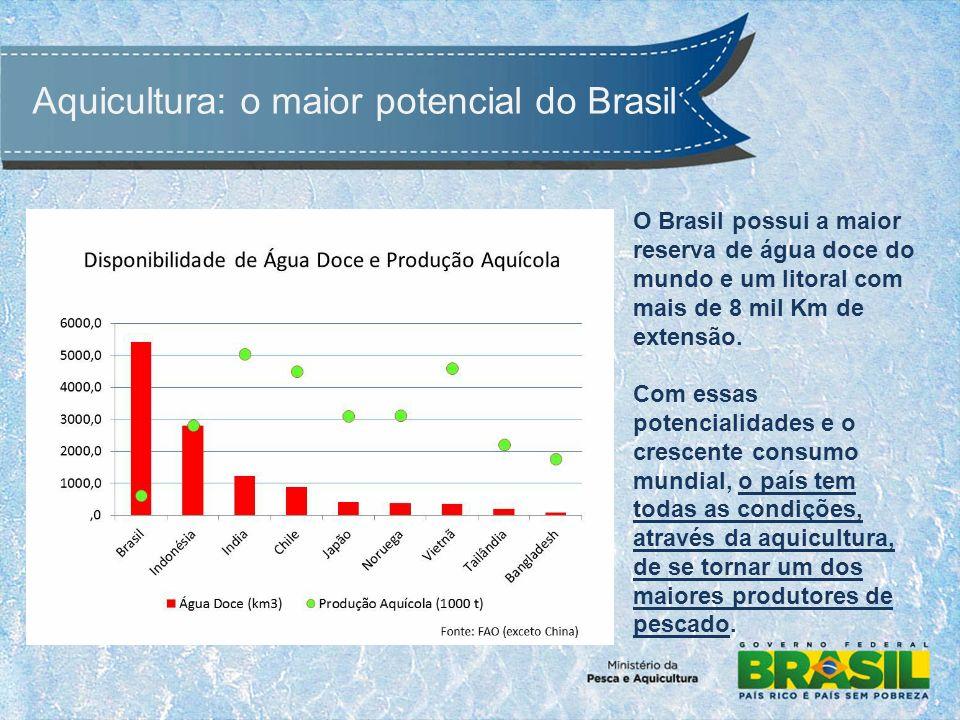 O Brasil possui a maior reserva de água doce do mundo e um litoral com mais de 8 mil Km de extensão.