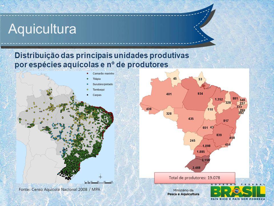 Aquicultura Fonte: Censo Aquícola Nacional 2008 / MPA Total de produtores: 19.078 Distribuição das principais unidades produtivas por espécies aquícolas e nº de produtores
