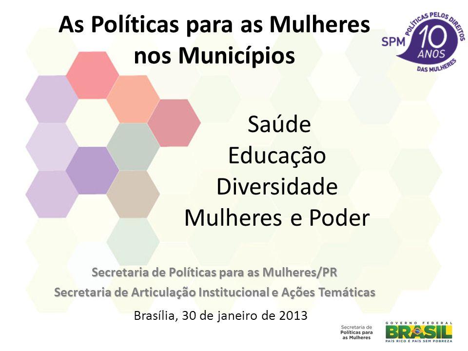 As Políticas para as Mulheres nos Municípios Secretaria de Políticas para as Mulheres/PR Secretaria de Articulação Institucional e Ações Temáticas Bra