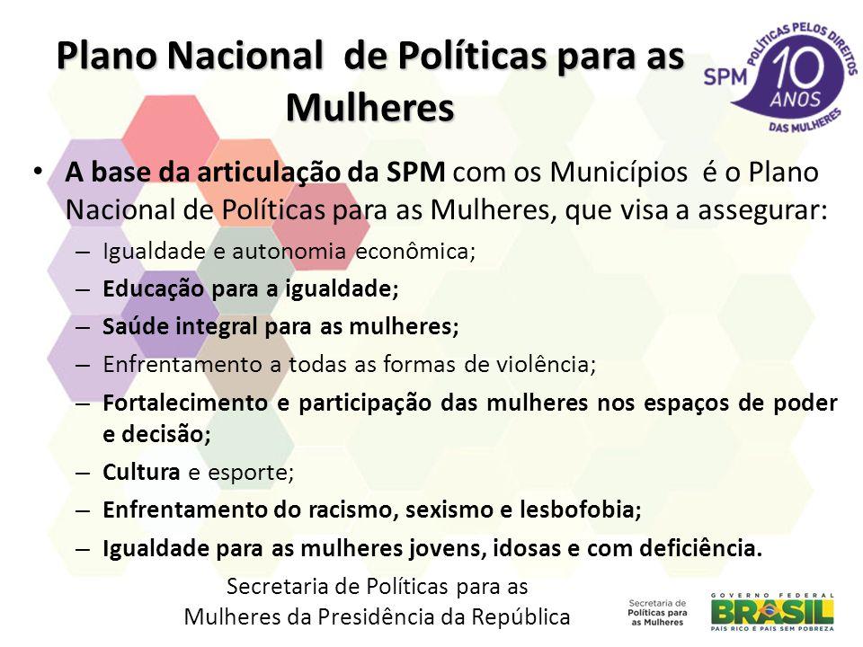 Plano Nacional de Políticas para as Mulheres A base da articulação da SPM com os Municípios é o Plano Nacional de Políticas para as Mulheres, que visa