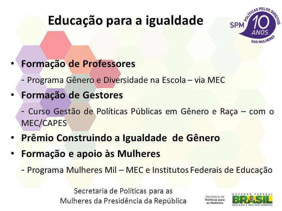 Educação para a igualdade Formação de Professores - Programa Gênero e Diversidade na Escola – via MEC Formação de Gestores - Curso Gestão de Políticas