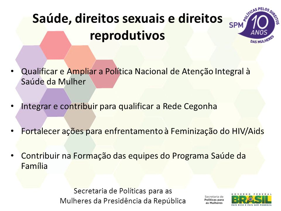 Saúde, direitos sexuais e direitos reprodutivos Qualificar e Ampliar a Política Nacional de Atenção Integral à Saúde da Mulher Integrar e contribuir p