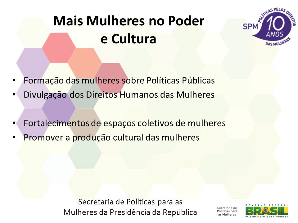 Mais Mulheres no Poder e Cultura Formação das mulheres sobre Políticas Públicas Divulgação dos Direitos Humanos das Mulheres Fortalecimentos de espaço