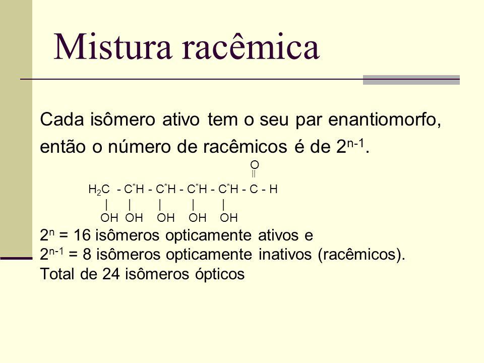 Mistura racêmica Cada isômero ativo tem o seu par enantiomorfo, então o número de racêmicos é de 2 n-1.