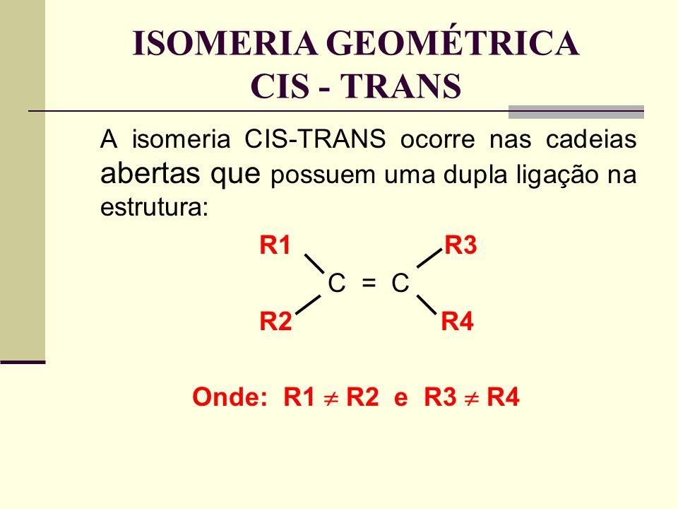 A isomeria CIS-TRANS ocorre nas cadeias abertas que possuem uma dupla ligação na estrutura: R1 R3 C = C R2R4 Onde: R1 R2 e R3 R4 ISOMERIA GEOMÉTRICA CIS - TRANS