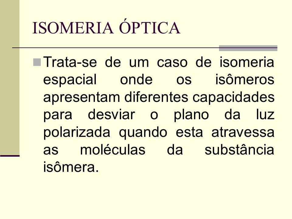 ISOMERIA ÓPTICA Trata-se de um caso de isomeria espacial onde os isômeros apresentam diferentes capacidades para desviar o plano da luz polarizada quando esta atravessa as moléculas da substância isômera.