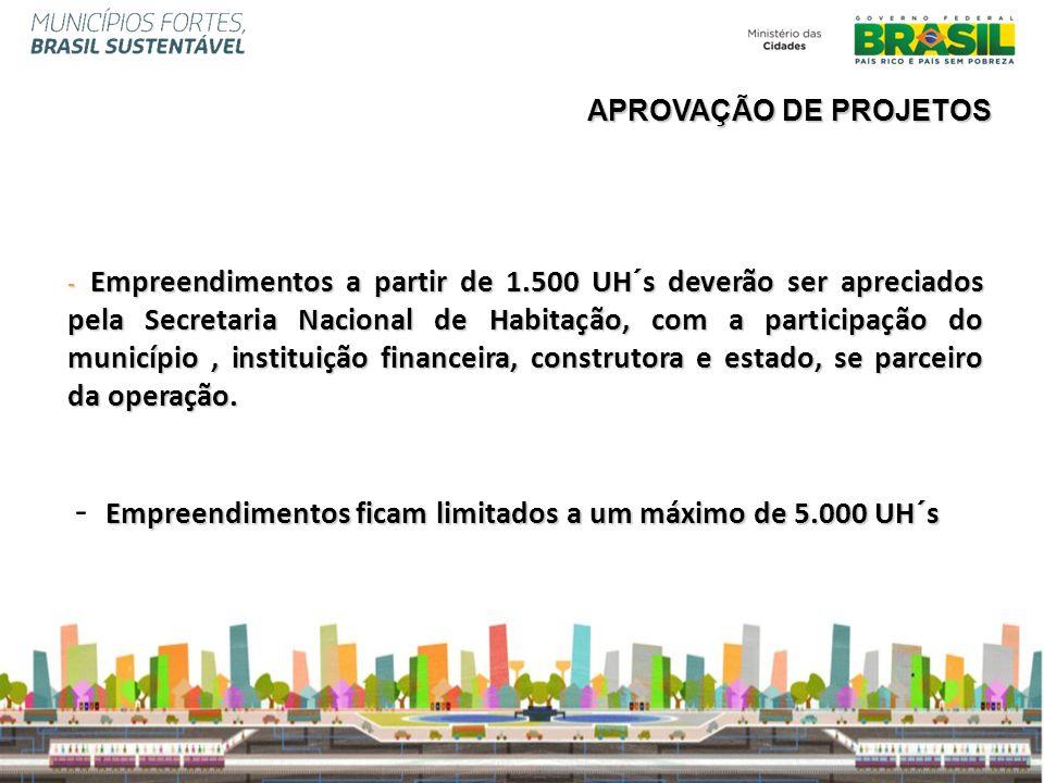 - Empreendimentos a partir de 1.500 UH´s deverão ser apreciados pela Secretaria Nacional de Habitação, com a participação do município, instituição fi