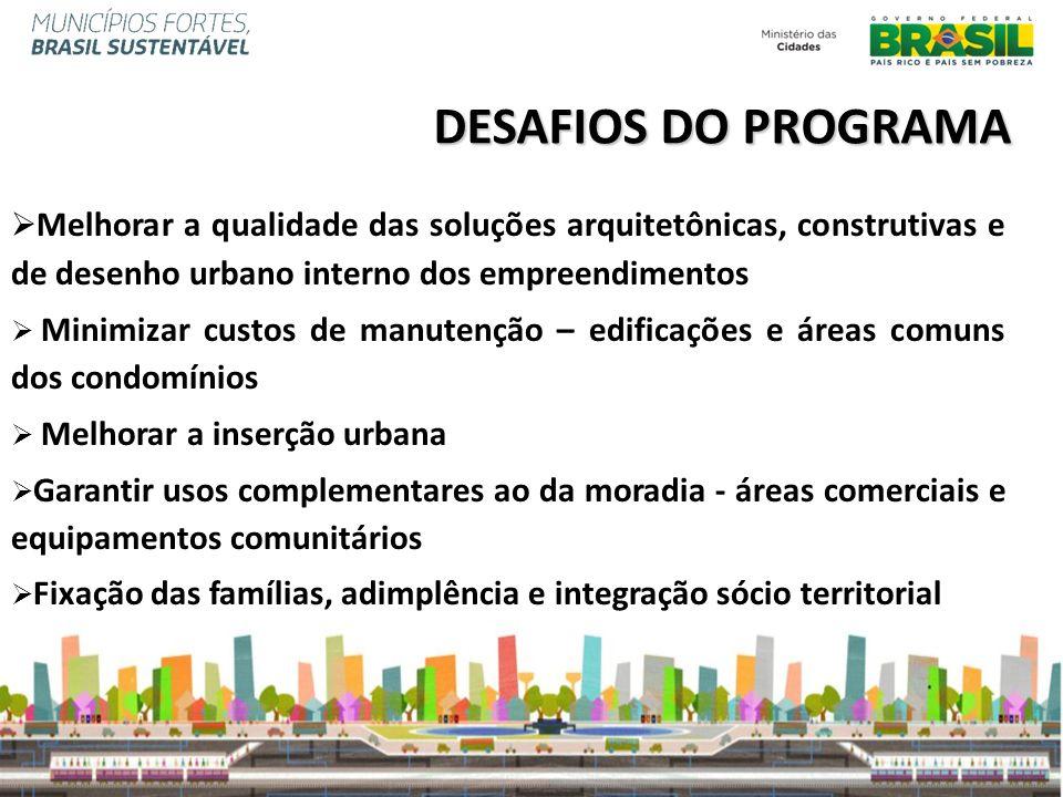 Melhorar a qualidade das soluções arquitetônicas, construtivas e de desenho urbano interno dos empreendimentos Minimizar custos de manutenção – edific