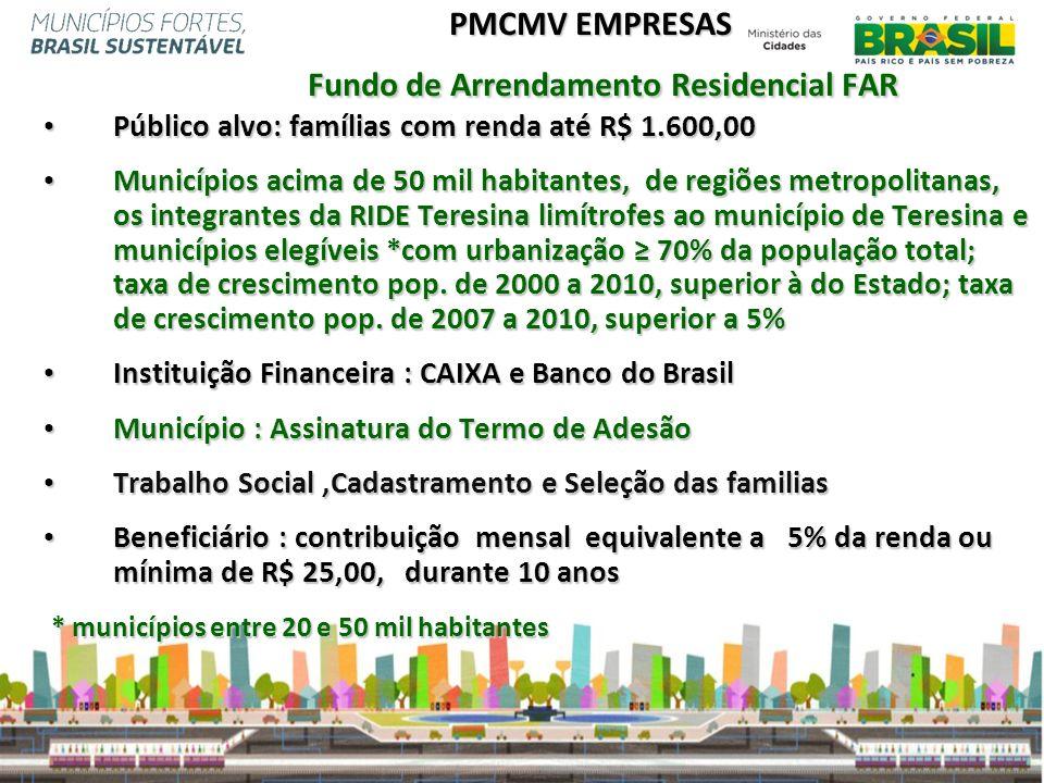 PMCMV EMPRESAS Fundo de Arrendamento Residencial FAR Público alvo: famílias com renda até R$ 1.600,00 Público alvo: famílias com renda até R$ 1.600,00
