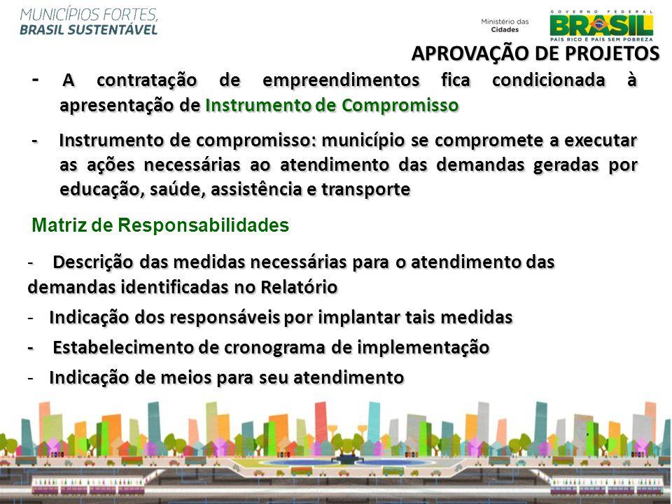 A contratação de empreendimentos fica condicionada à apresentação de Instrumento de Compromisso - A contratação de empreendimentos fica condicionada à