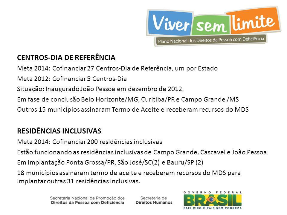 CENTROS-DIA DE REFERÊNCIA Meta 2014: Cofinanciar 27 Centros-Dia de Referência, um por Estado Meta 2012: Cofinanciar 5 Centros-Dia Situação: Inaugurado João Pessoa em dezembro de 2012.