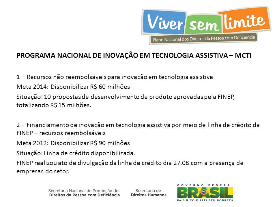PROGRAMA NACIONAL DE INOVAÇÃO EM TECNOLOGIA ASSISTIVA – MCTI 1 – Recursos não reembolsáveis para inovação em tecnologia assistiva Meta 2014: Disponibi