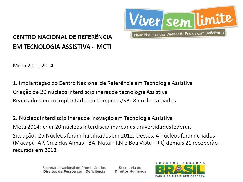 CENTRO NACIONAL DE REFERÊNCIA EM TECNOLOGIA ASSISTIVA - MCTI Meta 2011-2014: 1. Implantação do Centro Nacional de Referência em Tecnologia Assistiva C