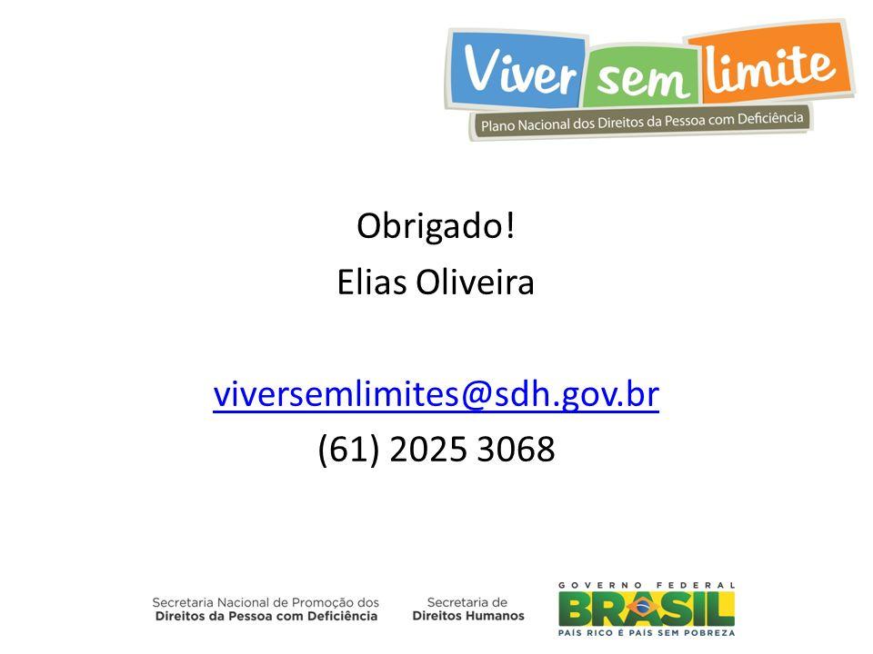 Obrigado! Elias Oliveira viversemlimites@sdh.gov.br (61) 2025 3068
