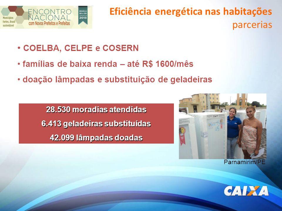 COELBA, CELPE e COSERN famílias de baixa renda – até R$ 1600/mês doação lâmpadas e substituição de geladeiras Parnamirim/PE 28.530 moradias atendidas 6.413 geladeiras substituídas 42.099 lâmpadas doadas Eficiência energética nas habitações parcerias