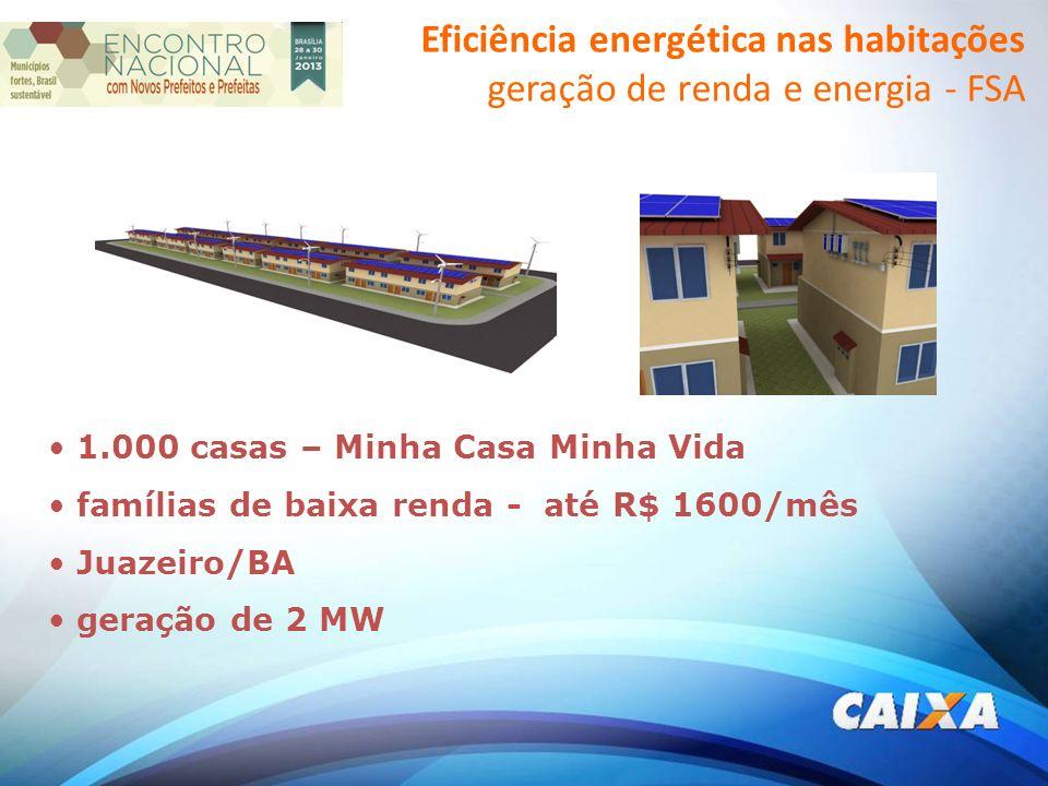 1.000 casas – Minha Casa Minha Vida famílias de baixa renda - até R$ 1600/mês Juazeiro/BA geração de 2 MW Eficiência energética nas habitações geração de renda e energia - FSA