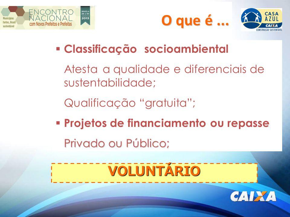 Classificação socioambiental Atesta a qualidade e diferenciais de sustentabilidade; Qualificação gratuita; Projetos de financiamento ou repasse Privado ou Público; VOLUNTÁRIO O que é...