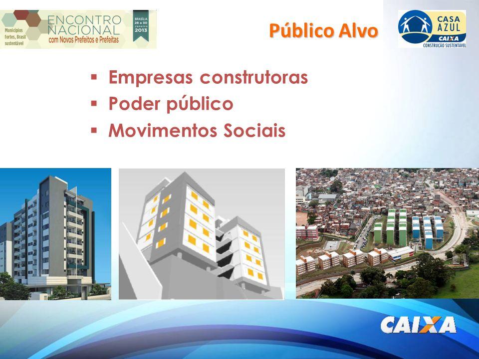 Empresas construtoras Poder público Movimentos Sociais Público Alvo