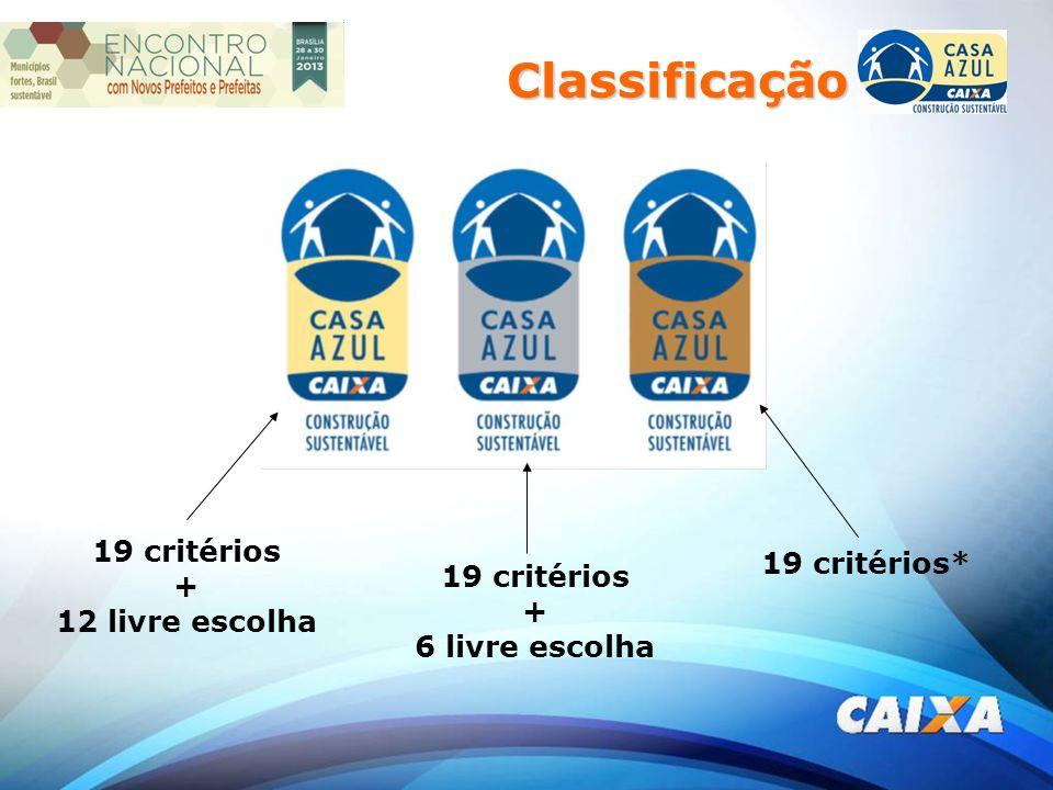 19 critérios + 12 livre escolha 19 critérios + 6 livre escolha 19 critérios* Classificação