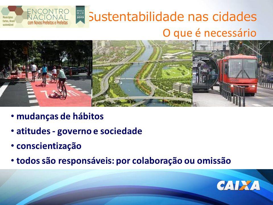 Sustentabilidade nas cidades O que é necessário mudanças de hábitos atitudes - governo e sociedade conscientização todos são responsáveis: por colaboração ou omissão