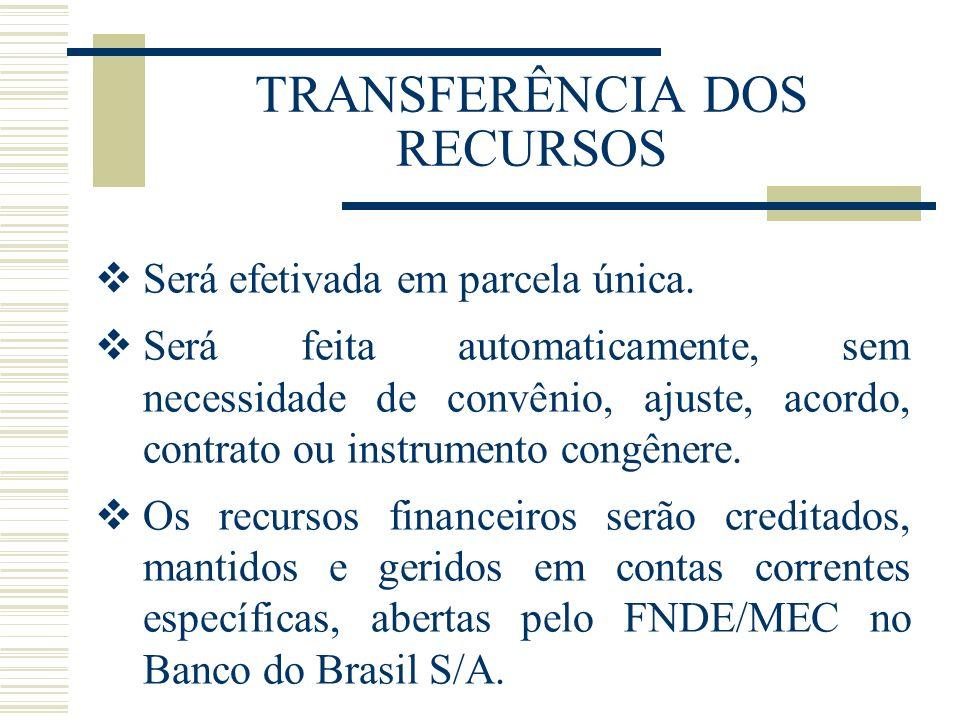 TRANSFERÊNCIA DOS RECURSOS Será efetivada em parcela única. Será feita automaticamente, sem necessidade de convênio, ajuste, acordo, contrato ou instr
