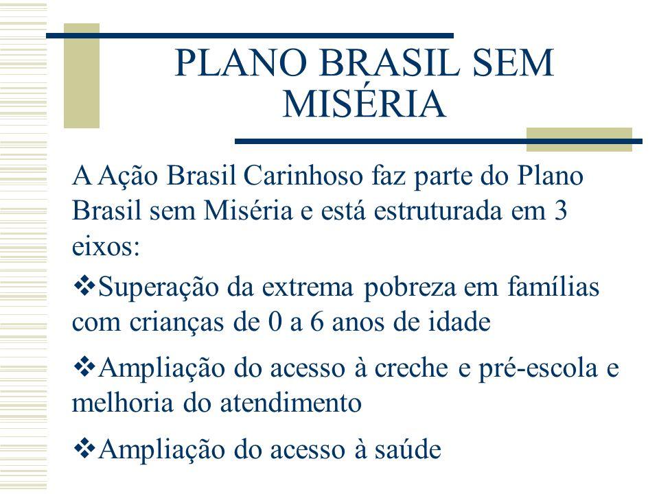 PLANO BRASIL SEM MISÉRIA A Ação Brasil Carinhoso faz parte do Plano Brasil sem Miséria e está estruturada em 3 eixos: Superação da extrema pobreza em