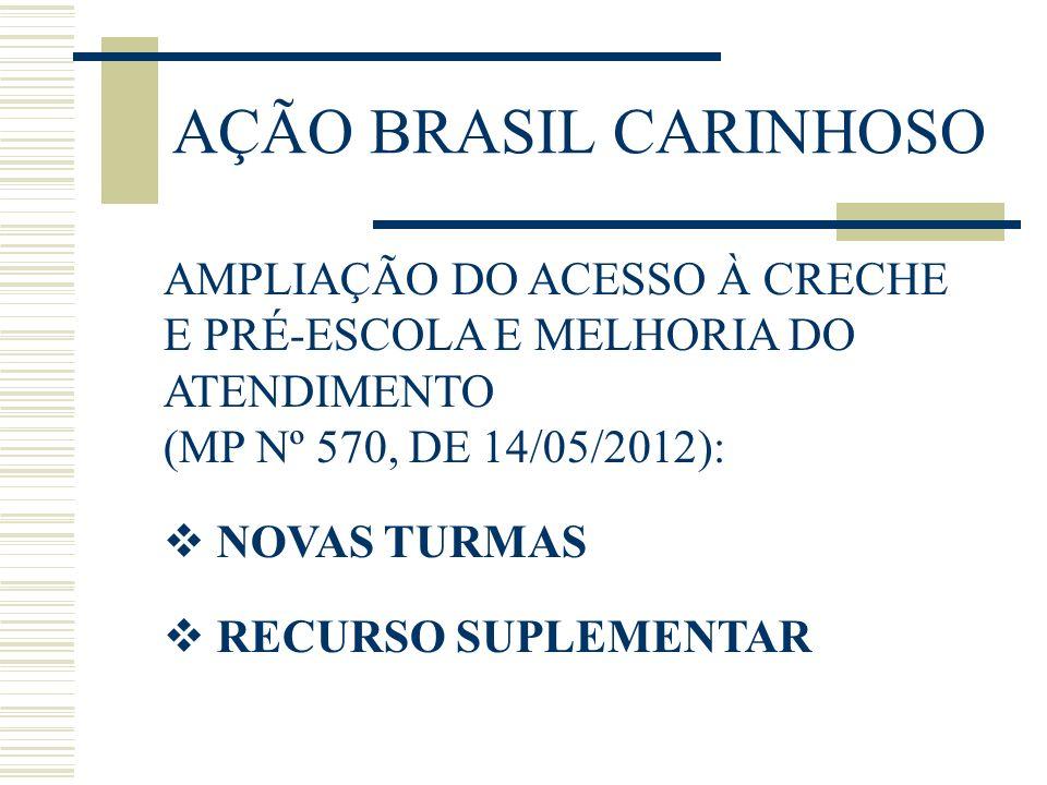 AÇÃO BRASIL CARINHOSO AMPLIAÇÃO DO ACESSO À CRECHE E PRÉ-ESCOLA E MELHORIA DO ATENDIMENTO (MP Nº 570, DE 14/05/2012): NOVAS TURMAS RECURSO SUPLEMENTAR