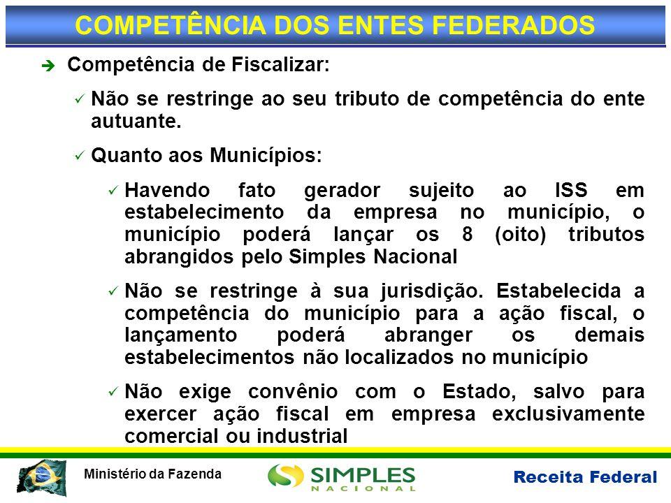 Receita Federal Ministério da Fazenda Competência de Fiscalizar: Não se restringe ao seu tributo de competência do ente autuante. Quanto aos Município