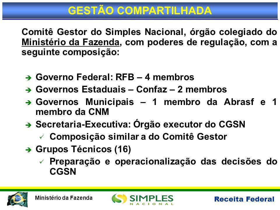 Receita Federal Ministério da Fazenda Comitê Gestor do Simples Nacional, órgão colegiado do Ministério da Fazenda, com poderes de regulação, com a seg