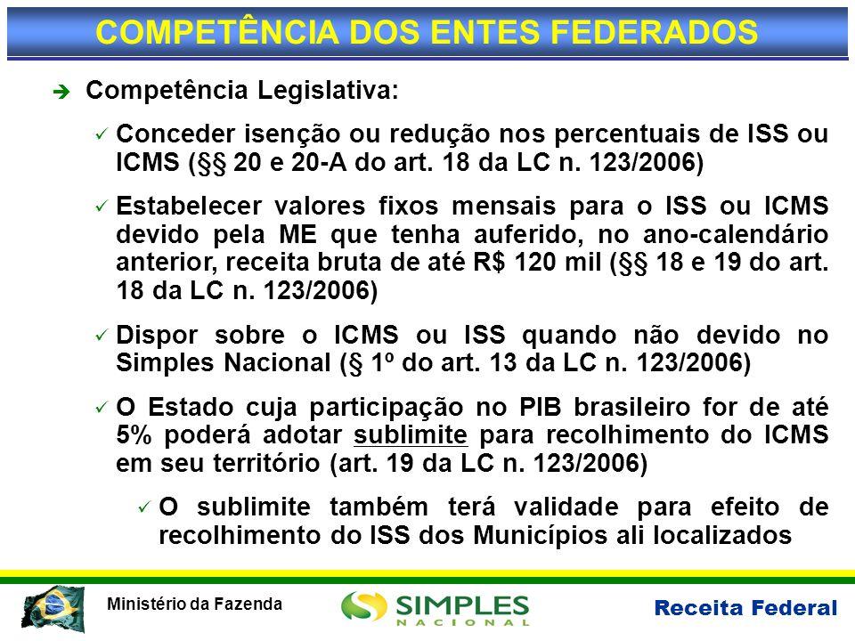 Receita Federal Ministério da Fazenda Competência Legislativa: Conceder isenção ou redução nos percentuais de ISS ou ICMS (§§ 20 e 20-A do art. 18 da