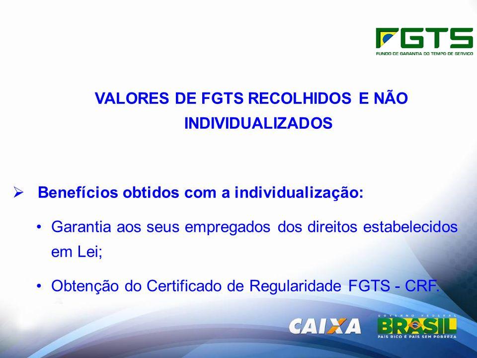 VALORES DE FGTS RECOLHIDOS E NÃO INDIVIDUALIZADOS Benefícios obtidos com a individualização: Garantia aos seus empregados dos direitos estabelecidos em Lei; Obtenção do Certificado de Regularidade FGTS - CRF.