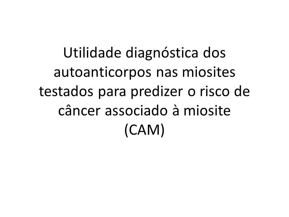 Utilidade diagnóstica dos autoanticorpos nas miosites testados para predizer o risco de câncer associado à miosite (CAM)