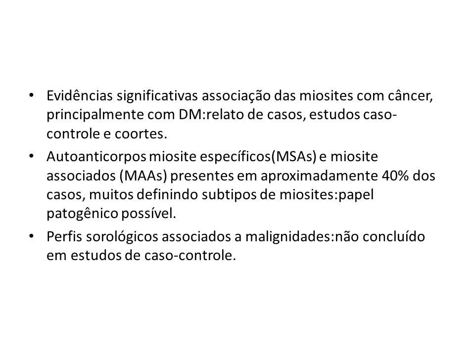 Evidências significativas associação das miosites com câncer, principalmente com DM:relato de casos, estudos caso- controle e coortes. Autoanticorpos