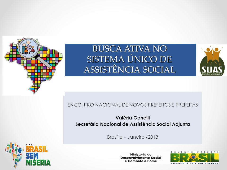 ENCONTRO NACIONAL DE NOVOS PREFEITOS E PREFEITAS Valéria Gonelli Secretária Nacional de Assistência Social Adjunta Brasília – Janeiro /2013 BUSCA ATIV