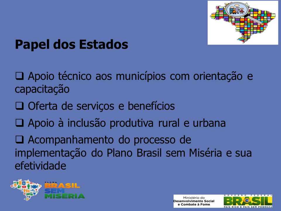 Papel dos Estados Apoio técnico aos municípios com orientação e capacitação Oferta de serviços e benefícios Apoio à inclusão produtiva rural e urbana