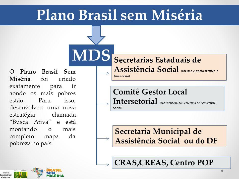 Plano Brasil sem Miséria MDS Secretarias Estaduais de Assistência Social (ofertas e apoio técnico e financeiro) Comitê Gestor Local Intersetorial (coo