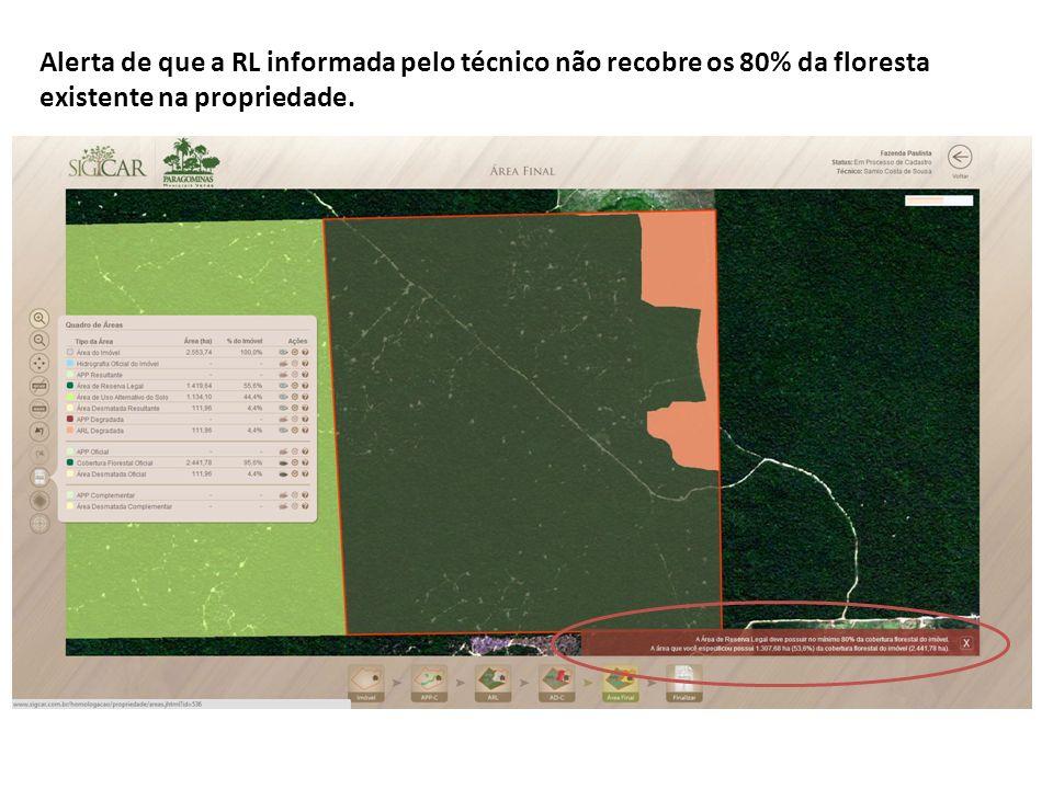Alerta de que a RL informada pelo técnico não recobre os 80% da floresta existente na propriedade.