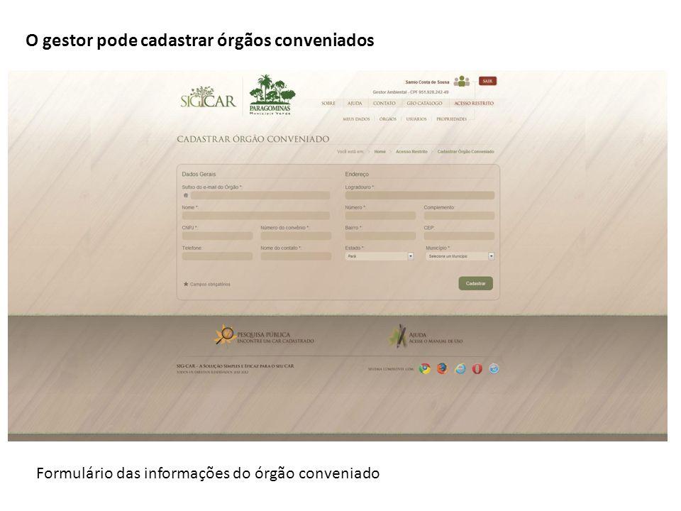 Formulário das informações do órgão conveniado