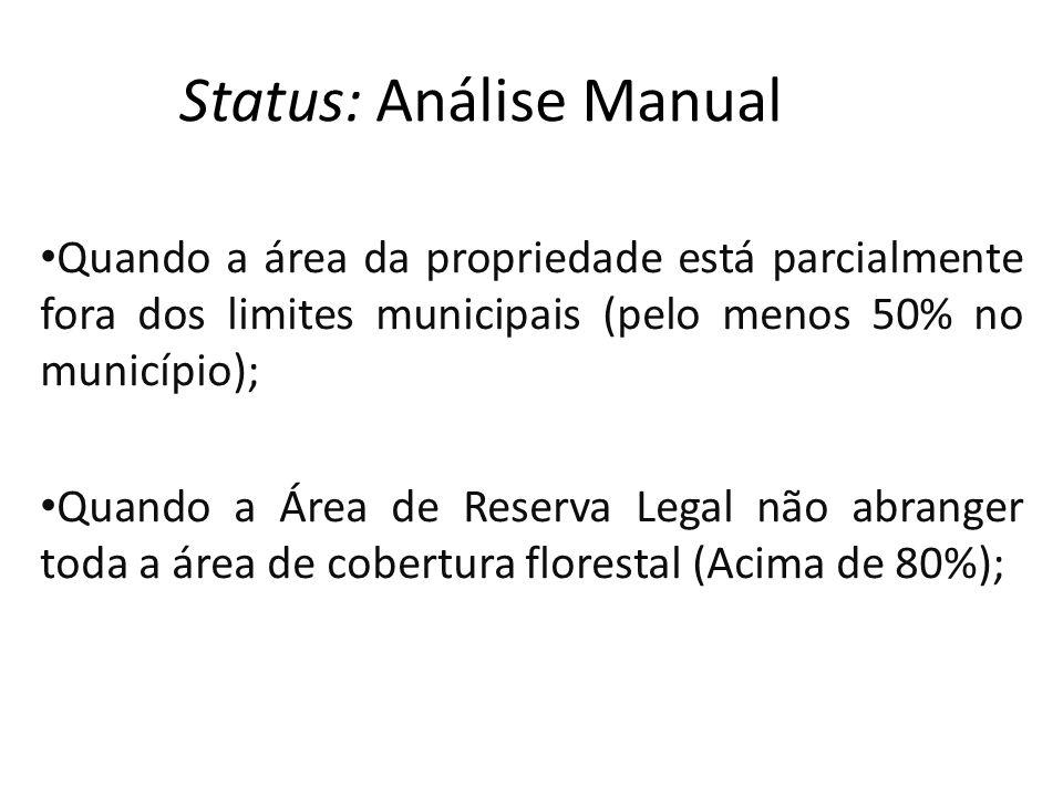 Status: Análise Manual Quando a área da propriedade está parcialmente fora dos limites municipais (pelo menos 50% no município); Quando a Área de Reserva Legal não abranger toda a área de cobertura florestal (Acima de 80%);