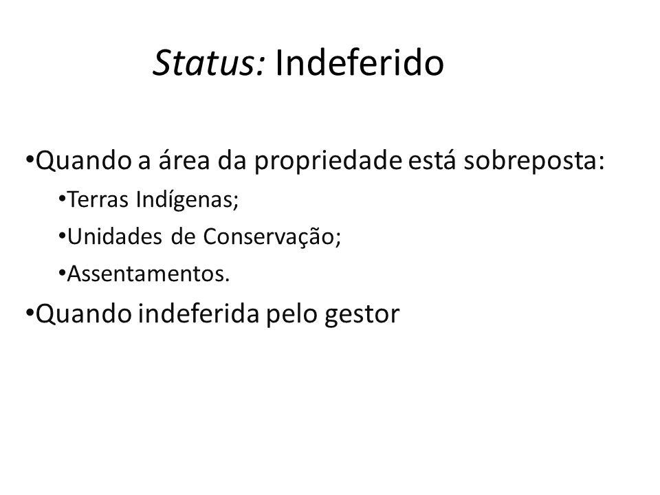 Status: Indeferido Quando a área da propriedade está sobreposta: Terras Indígenas; Unidades de Conservação; Assentamentos.