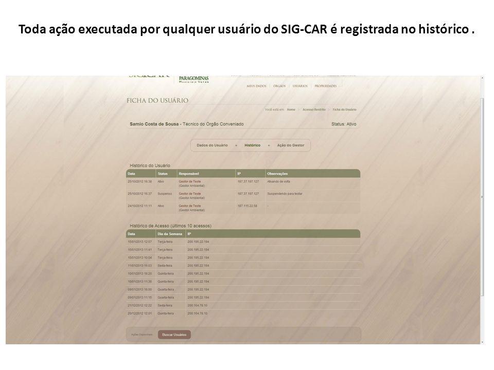 Toda ação executada por qualquer usuário do SIG-CAR é registrada no histórico.