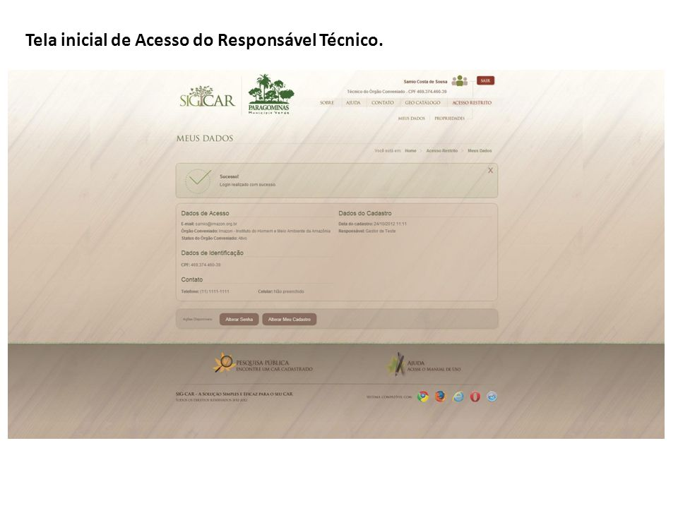 Tela inicial de Acesso do Responsável Técnico.
