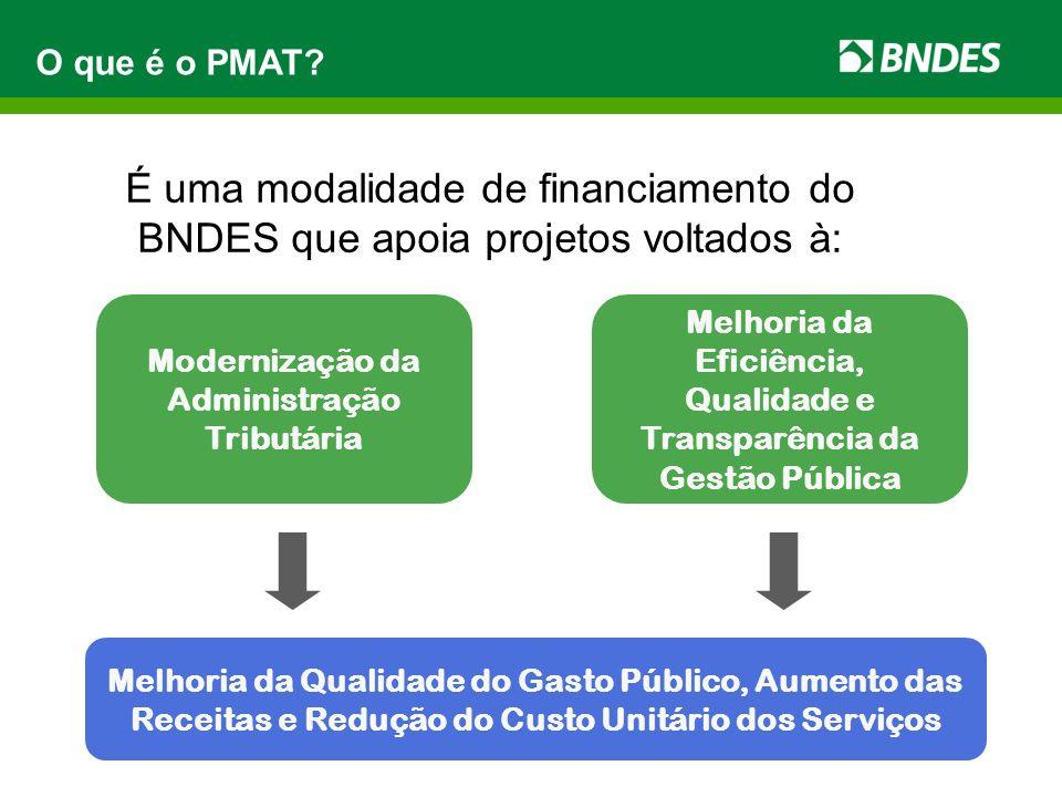 É uma modalidade de financiamento do BNDES que apoia projetos voltados à: O que é o PMAT? Modernização da Administração Tributária Melhoria da Eficiên