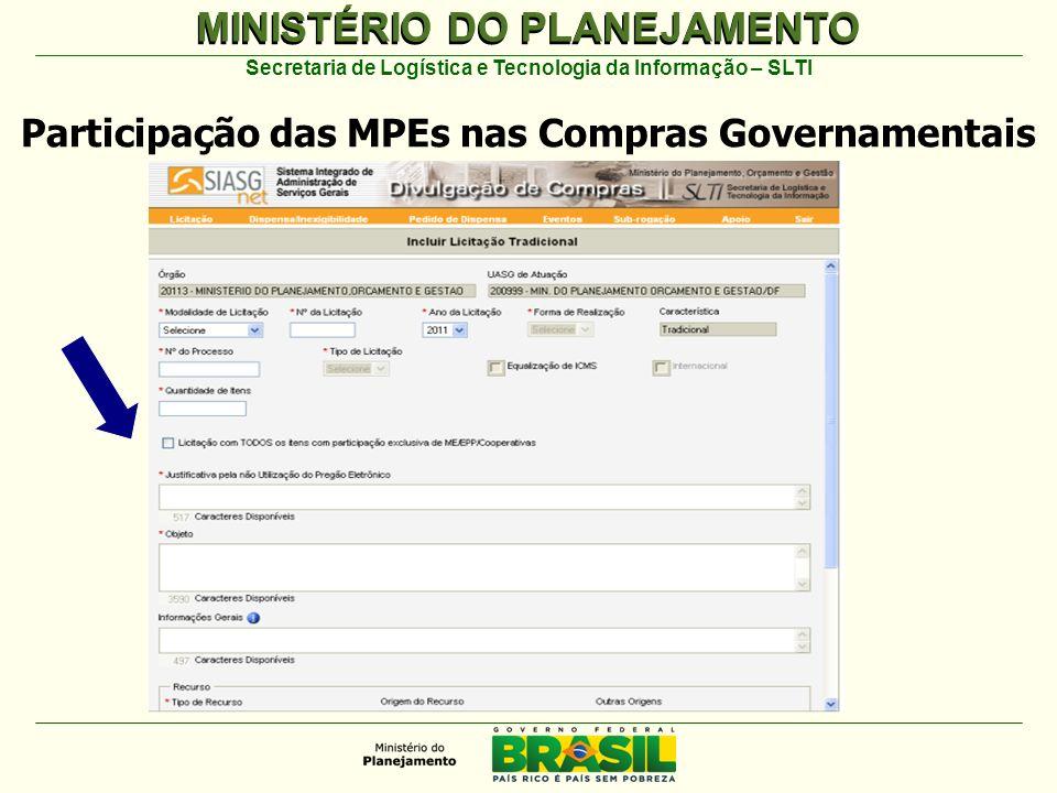 MINISTÉRIO DO PLANEJAMENTO Secretaria de Logística e Tecnologia da Informação – SLTI Participação das MPEs nas Compras Governamentais