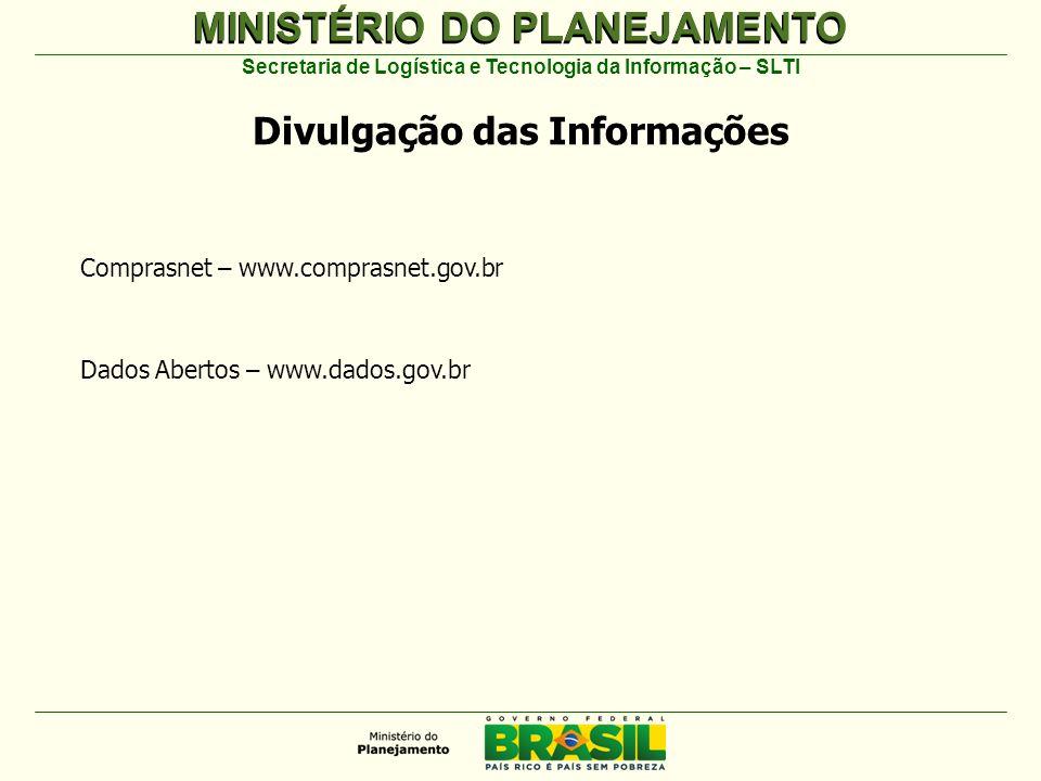 MINISTÉRIO DO PLANEJAMENTO Secretaria de Logística e Tecnologia da Informação – SLTI Divulgação das Informações Comprasnet – www.comprasnet.gov.br Dados Abertos – www.dados.gov.br