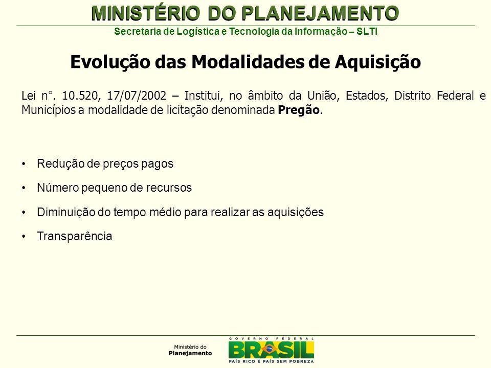 MINISTÉRIO DO PLANEJAMENTO Secretaria de Logística e Tecnologia da Informação – SLTI Pregão Lei n°.