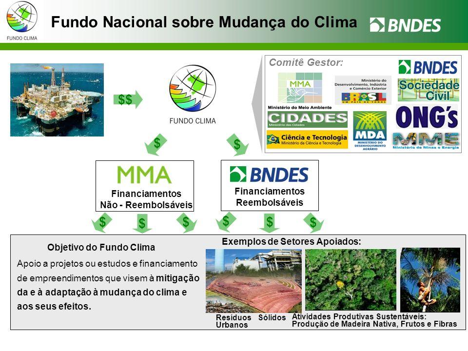 Fundo Nacional sobre Mudança do Clima Objetivo do Fundo Clima Apoio a projetos ou estudos e financiamento de empreendimentos que visem à mitigação da e à adaptação à mudança do clima e aos seus efeitos.