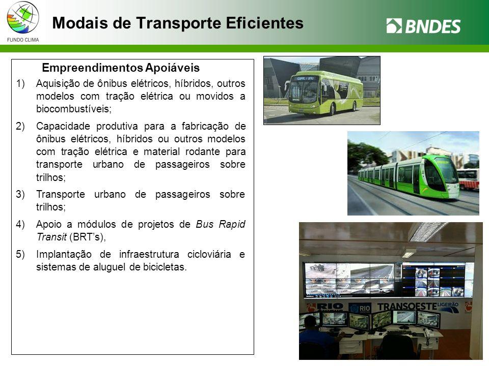 Modais de Transporte Eficientes Empreendimentos Apoiáveis 1)Aquisição de ônibus elétricos, híbridos, outros modelos com tração elétrica ou movidos a biocombustíveis; 2)Capacidade produtiva para a fabricação de ônibus elétricos, híbridos ou outros modelos com tração elétrica e material rodante para transporte urbano de passageiros sobre trilhos; 3)Transporte urbano de passageiros sobre trilhos; 4)Apoio a módulos de projetos de Bus Rapid Transit (BRTs), 5)Implantação de infraestrutura cicloviária e sistemas de aluguel de bicicletas.