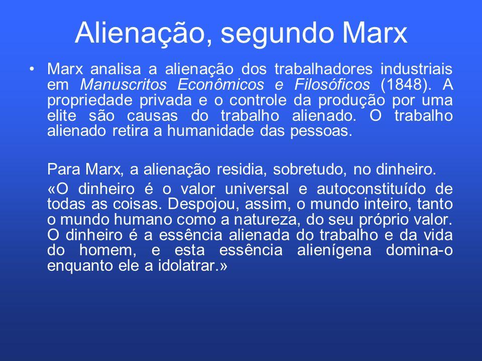 Alienação, segundo Marx Marx analisa a alienação dos trabalhadores industriais em Manuscritos Econômicos e Filosóficos (1848). A propriedade privada e