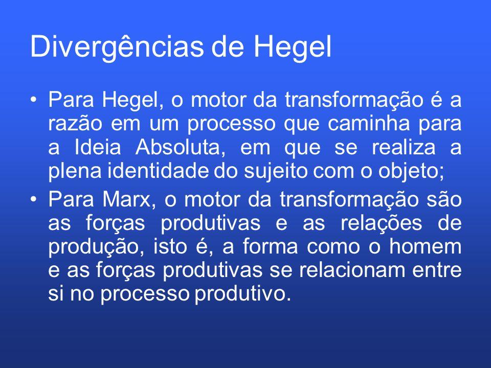 Divergências de Hegel Para Hegel, o motor da transformação é a razão em um processo que caminha para a Ideia Absoluta, em que se realiza a plena ident
